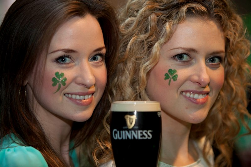 No Fee for Repro: 17/03/12 Maria Buffini and Michelle Assaf pictured here enjoying the St. Patrick's Day Festival at Guinness Storehouse. Visitors to the attraction got the chance to try their luck at the Ceili Mor, sample the traditional Irish fare and new Guinness variants on offer throughout the day, and watch the Six Nations Ireland versus England rugby match. For more details on the festival or Guinness Storehouse log onto www.guinness-storehouse.com or check out www.facebook.com/GuinnessStorehouse or follow them on Twitter @homeofguinness  Pic Andres Poveda CPR