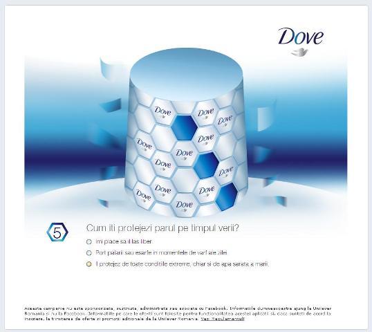 Aplicatia Dove  'Ingrijire intensa pentru parul tau'
