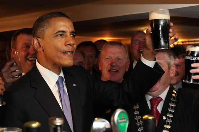 23-5-11???OFFICIAL VISIT TO IRELAND BY THE PRESIDENT OF THE UNITED STATES BARAK OBAMA AND FIRST LADY MICHELLE OBAMA. PIC SHOWS US PRESIDENT BARAK OBAMA IN HAYES BAR IN HIS ANCESTRAL HOME OF MONEYGALL, CO. OFFALY, IRELAND WHERE HE ENJOYED A PINT OF GUINNESS. PIC. MAXWELLS DUBLIN NO REPRO FEE