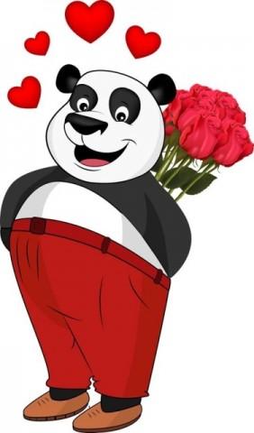 Panda iubeste Florile
