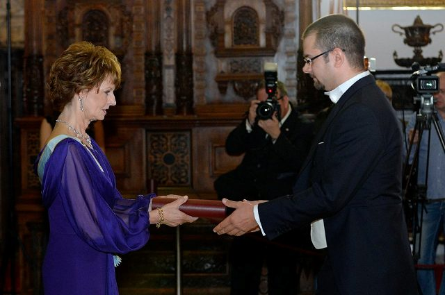 Princess Margareta of Romania and Agerpres' General Manager Alex Giboi. Photo by Razvan Chirita, Source: Agerpres