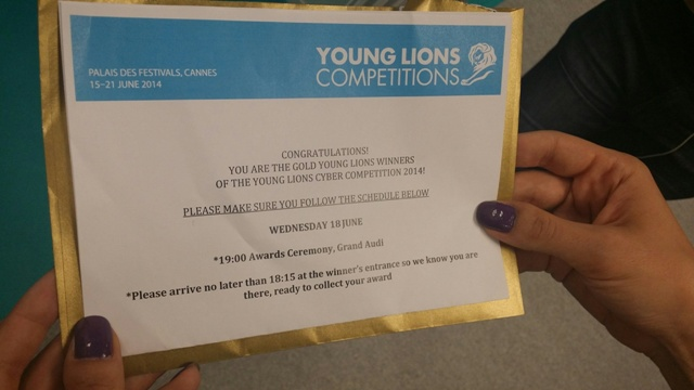 Young Cyber Gold winning announcement