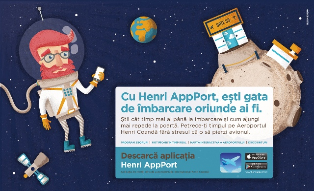 HenriApp Port - Panou Check In (cosmonaut)