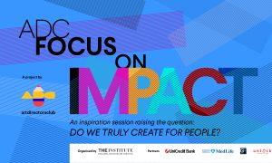 "Anu Niemonen, Kris Hoet şi Conn Bertish on the scene of ""ADC Focus on Impact"""